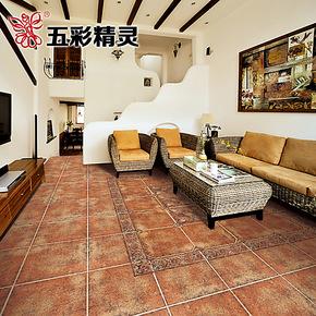 五彩精灵美式乡村风格瓷砖 客厅卧室地板砖防滑配角花 八角仿古砖