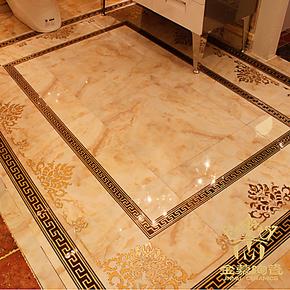 金慕新泰陵花镀金抛晶砖艺术砖/抛金砖/餐厅客厅地面瓷砖600X600