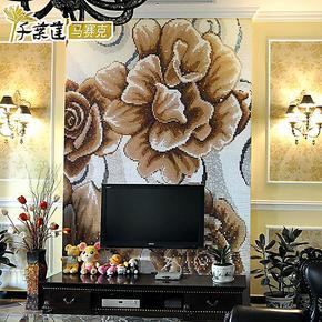 【千叶莲】水晶玻璃马赛克 拼花背景墙 拼图电视背景墙 清水芙蓉