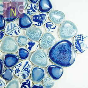 【馨垲睿】青花陶瓷马赛克 自由石 鹅卵石 中国风 地面/台面/包邮
