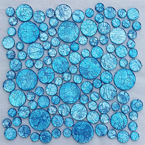 【玻瑞特】异形兰色金箔玻璃马赛克 背景墙 蓝色 背景墙客厅厨房