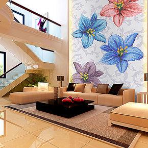 【孔雀鱼】水晶玻璃马赛克 s1042 花朵拼图背景墙 电视背景墙瓷砖