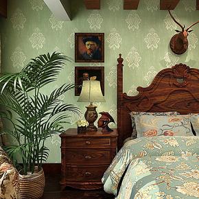 歌诗雅墙纸 卧室客厅电视背景墙 美式风格无纺布壁纸18绿色AB版