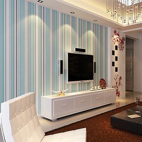 辛格墙纸无纺布地中海竖条纹壁纸客厅电视墙背景餐厅卧室满铺特价