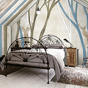 戈黎斯 鹿林 艺术壁画 小清新墙画卧室 定制田园风壁纸客厅 特价