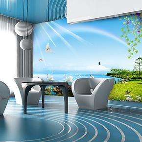 千贝大型壁画 客厅沙发电视墙背景墙壁纸卧室清新墙布 现代天鹅湖