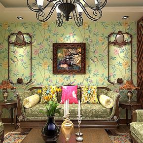 歌诗雅餐厅墙纸 卧室客厅绿色花鸟田园大花壁纸73中式东南亚风格