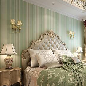 陛尚坊 英伦风 环保无纺布墙纸 美式风情 竖条纹客厅卧室满铺壁纸