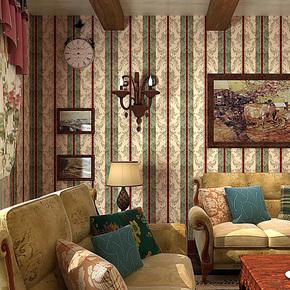 歌诗雅壁纸 客厅卧室 复古美式乡村田园花 绿色竖条纹墙纸32