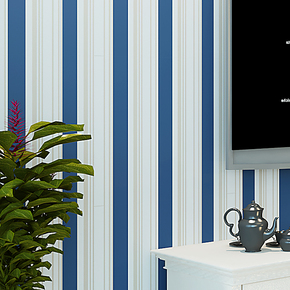 将旗 无纺布植绒地中海风格蓝色条纹墙纸 卧室客厅电视背景壁纸