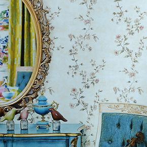 慕勒美式乡村壁纸客厅沙发背景墙纸 卧室田园花藤环保纯纸特价热