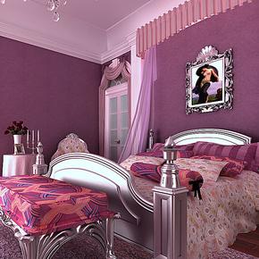 无纺布壁纸 卧室婚房满铺高贵时尚浪漫 纯色素色墙纸137 深紫色