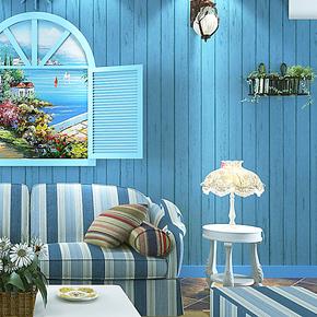 米冠 蓝色地中海木纹墙纸无纺布 怀旧卧室客厅电视背景墙条纹壁纸