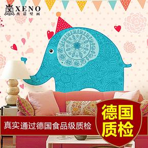 西诺 可爱的大象 儿童房墙纸 卧室床头背景墙卡通壁纸 大型壁画