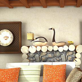 歌诗雅无纺布墙纸 客厅卧室满铺纯色复古壁纸182中式东南亚风格