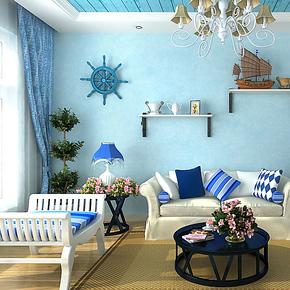 歌诗雅无纺布壁纸 家装客厅卧室满铺简约浅蓝色墙纸133地中海风情