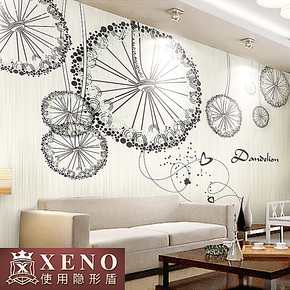 西诺大型壁画墙纸 客厅卧室沙发墙餐厅背景墙现代简约壁纸 蒲公英