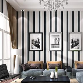 歌诗雅无纺布墙纸 客厅卧室背景墙现代简约壁纸42黑白灰竖条