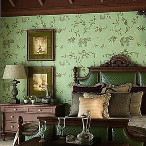 将旗国产 东南亚风格无纺仿刺绣大象墙纸 床头卧室 客厅背景壁纸