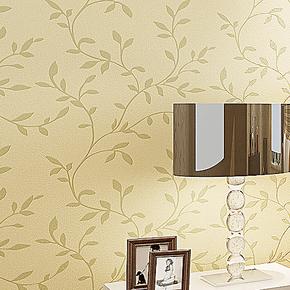 新巢 环保无纺布壁纸 立体镶银小树叶 现代田园卧室 客厅背景墙纸