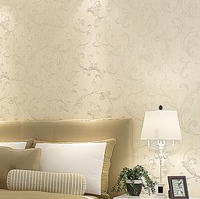 新巢 环保无纺布壁纸 经典欧式莨苕叶尊贵烫金 卧室客厅背景墙纸