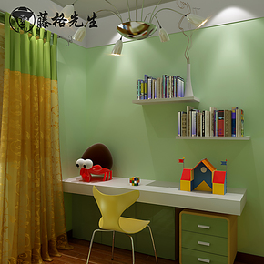 藤格先生 浅淡绿色 卧室儿童房满铺 背景墙纸 纯色 无纺布壁纸 SU