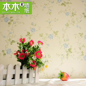 Q现代家装卧室田园碎花无纺布绿色壁纸美式房间温馨浪漫背景墙纸