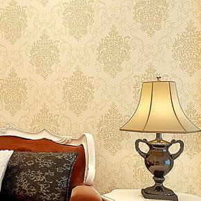米贝尔壁纸 大马士革环保无纺布圆网洒金 欧式风格 卧室客厅墙纸