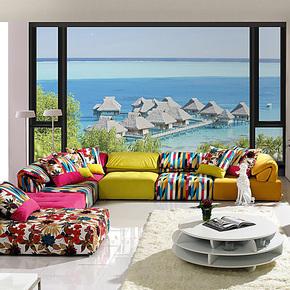 空间元素 3D立体卧室田园壁纸客厅背景墙大型壁画温馨浪漫墙纸