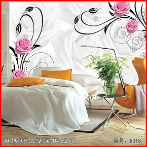 B集美家大型壁画 电视背景墙壁纸墙纸画客厅卧室装饰壁画玫瑰情缘