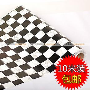 包邮 潮流黑白格 PVC自粘墙纸 家具贴 客厅卧室壁纸 背胶贴BG5012