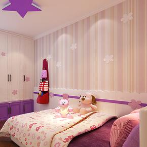 米冠墙纸 简约竖条纹植绒无纺布壁纸 卧室客厅背景男女儿童房墙纸