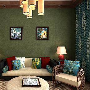 歌诗雅无纺布壁纸 家居装修卧室客厅英伦简约风格墙纸132 橄榄绿