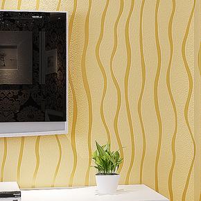 新巢 高档植绒壁纸 简约现代竖条 客厅卧室 电视背景墙墙纸 包邮