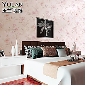 预售玉兰墙纸进口田园刺绣环保卧室客厅电视背景寝室壁纸特价
