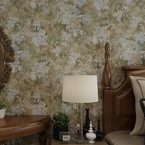 将旗壁纸 无纺布复古美式大花田园墙纸 卧室客厅背景墙壁纸F87081