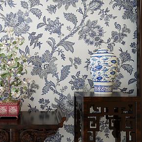 将旗壁纸 环保无纺布蓝色地中海风格墙纸 青花瓷卧室客厅LG68205