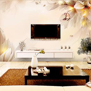 塞丽雅 蝴蝶花纹电视背景墙纸壁纸 大型壁画客厅沙发卧室墙贴自粘