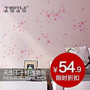 泰瑞儿童田园墙纸 卧室温馨粉色壁纸 韩式客厅浪漫小花 pvc墙纸