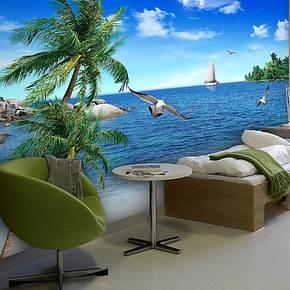 塞丽雅 风景大海椰树沙滩电视背景墙纸壁纸 客厅卧室大型壁画特价
