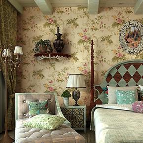 歌诗雅墙纸家装客厅卧室背景墙 美式乡村田园怀旧壁纸49 复古黄色