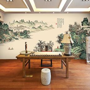 帝居大型壁画电视背景墙纸壁纸 水墨山水 江边春游 卧室 客厅壁画