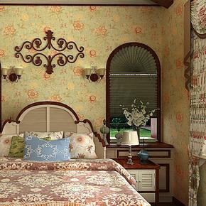 歌诗雅壁纸 客厅卧室满铺 经典美式复古田园大花 环保壁纸64