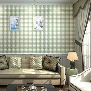 歌诗雅墙纸 家装卧室客厅 英伦简约绿色格子壁纸163 苏格兰情调