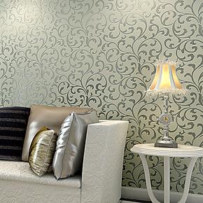 【预售】玉兰墙纸欧式植绒环保进口无纺布客厅卧室背景墙纸
