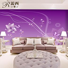 蕊西卧室自粘电视背景墙纸壁纸 紫色浪漫蝶舞大型壁画 高品质热卖
