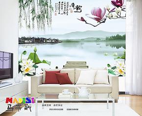 马蒂斯大型壁画 中式唐韵 荷花风景  电视墙背景客厅卧室墙纸壁纸