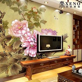 西诺大型壁画 墙纸 卧室 书房 电视背景墙现代中式壁纸 盛世牡丹
