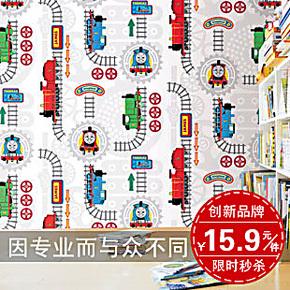 HYUNDAE环保自粘环保PVC防水墙纸 男孩卧室儿童房卡通托马斯壁纸