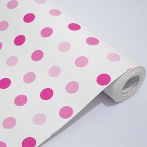 余美PVC自粘墙纸 白底粉色点点厅卧室壁纸背胶翻新贴Y5053